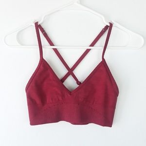 Lululemon Burgundy Criss Cross Strap Bra